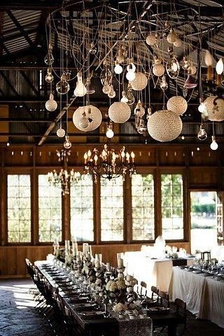Lights, Lights, Lights: Hanging Lights, Tables Sets, Idea, Wedding Receptions, Lights Fixtures, Paper Lanterns, Bulbs, Barns Wedding, Long Tables