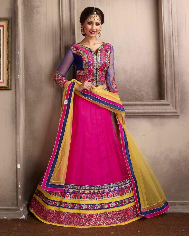 Pink   ingenious Embroidered Net Buy Lehenga Choli Online       Fabric:   Net       Work:   Embroidered       Type:   Buy Lehenga Choli   Online       Color:   Pink                 Lehanga   Fabric   Net       Choli Fabric   Silk