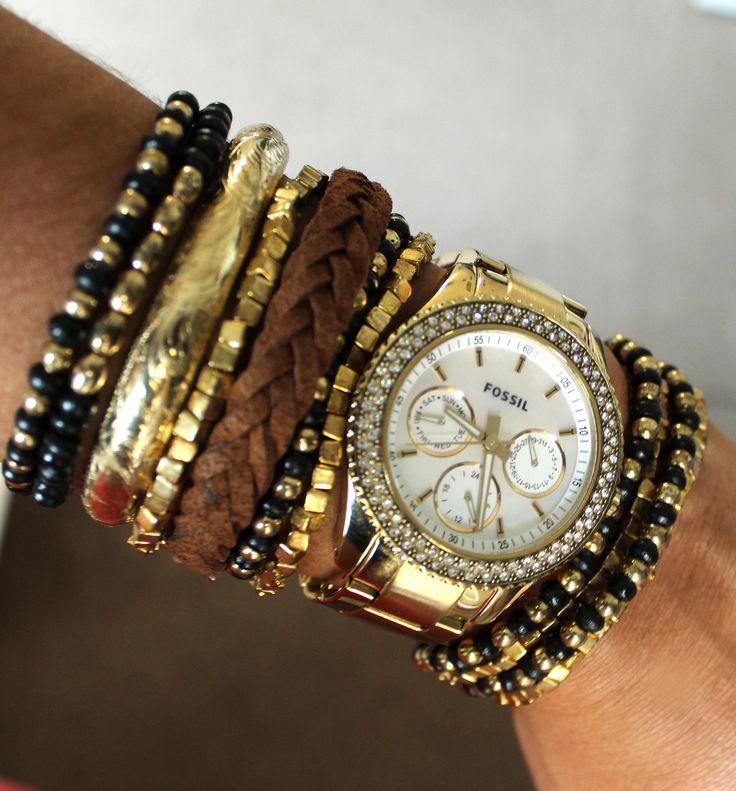 golden watch & bracelets 2013 jewelry fashion trends