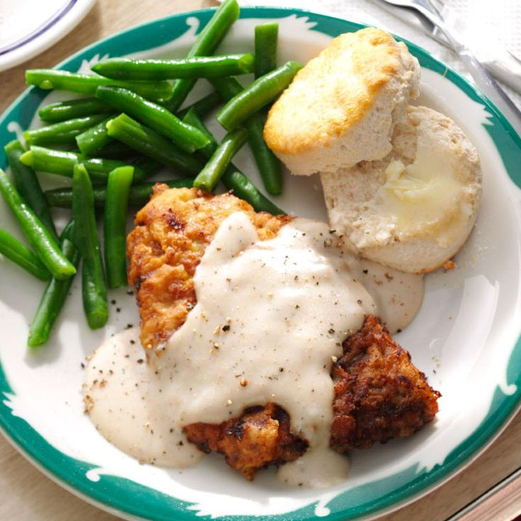 Chicken-Fried Steak & Gravy Recipe -As a child, my grandmother taught me how to make chicken fried steak. I taught my daughters, and when my granddaughters are bigger, I'll show them, too. —Donna Cater, Fort Ann, New York