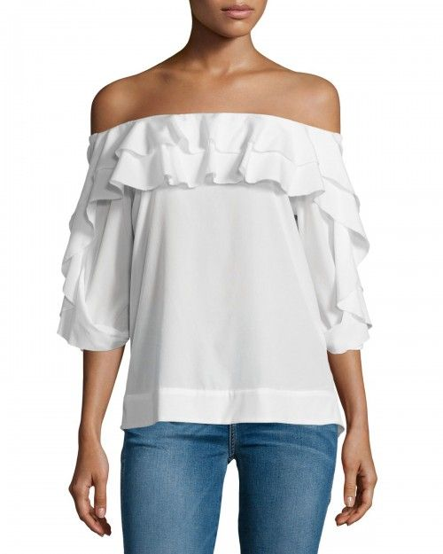 Lagence+Monroe+Off+the+Shoulder+Top+Ivory+Women's+|+Clothing