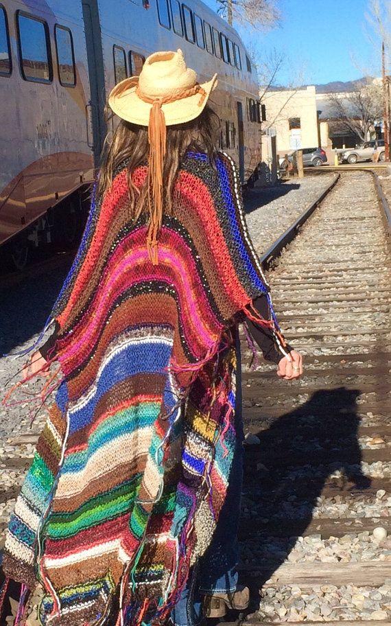 "LONG Handknit Womens Bohemian Festival Hippie Beach Poncho Cape Shawl (""For Jacquie"")"