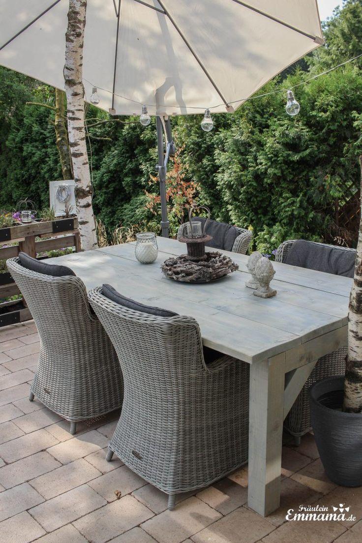 Unser neuer Gartentisch ist der neue Hingucker in unserem Garten. Und nicht nur das, er ist sogar noch DIY. Eine Anleitung zum Nachbauen findet ihr hi… – Tania