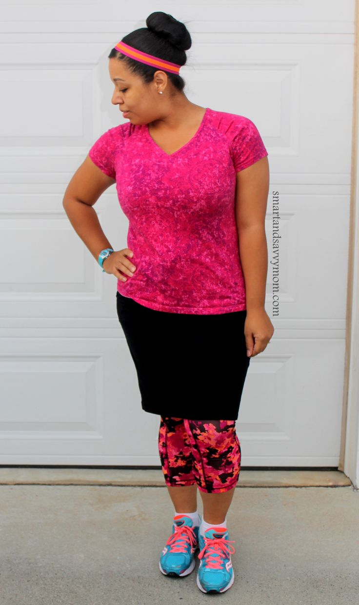 pink and orange and black running outfit workout outfit