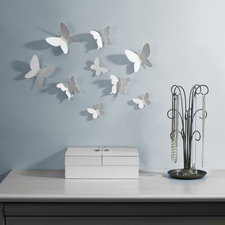mariposa | Set of nine molded butterflies with wire antennae and adhesives for clean, fast and easy mounting. DESIGN by Alan Wisniewski/Marion Lanktree // UMBRA (C) 2012