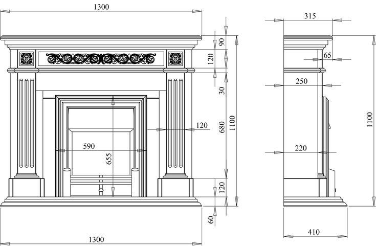Классическая облицовка с декоративной резьбой под электроочаг - каталог дизайн проекты каминов в 3d