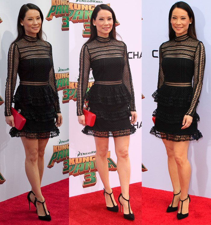 Lucy Liu at the world premiere of 'Kung Fu Panda 3' in Los Angeles on January 16, 2016