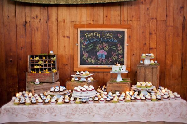 A couple's love story accompanies this rustic lakeside wedding with a cabin-like feel reception, billy button bouquets, and wooden crate cupcake display.