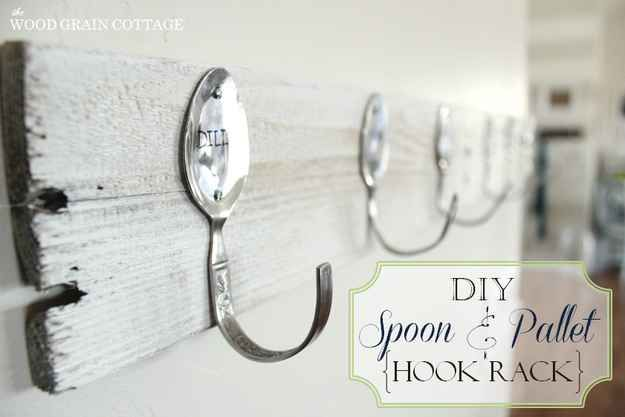 Use cheap silverware to create adorable hooks. >> would be cute maybe to hang under cabinets for coffee cups?