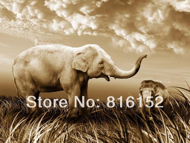 Африканский слон пн и солнце отель современная обстановка животных картины маслом на холсте печать бесплатная доставка
