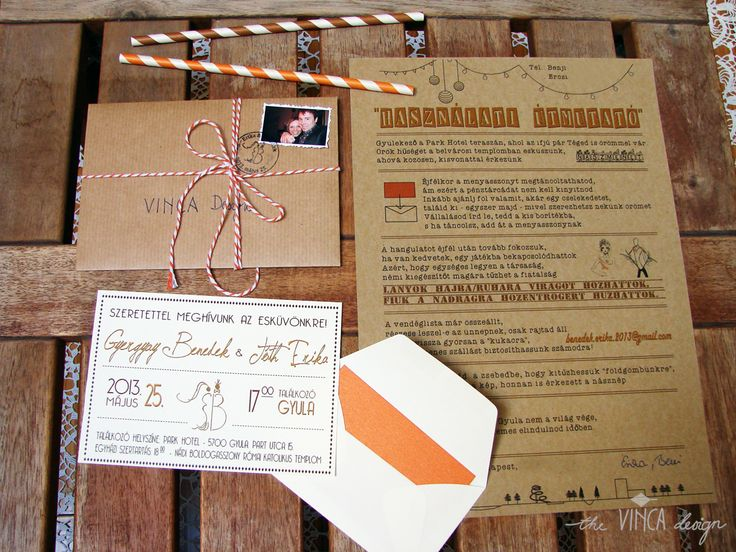 Vinca Design, rustic wedding, wedding invitation suite, wedding stationery, info card // rusztikus esküvő, esküvői meghívó, útmutató