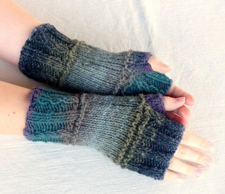 Hand Knit Fingerless gloves - wool fingerless glove mittens - wool gloves by SallyAnnaBoutique on Etsy