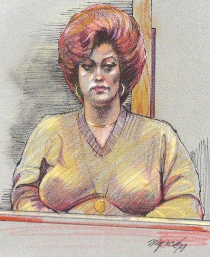 Defense witness in the Cullen Davis Trial, 1977. Art by Gary Myrick