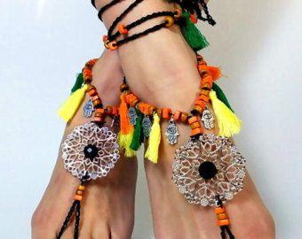 Sandalo turchese Boho a piedi nudi sandali FESTIVAL usura del
