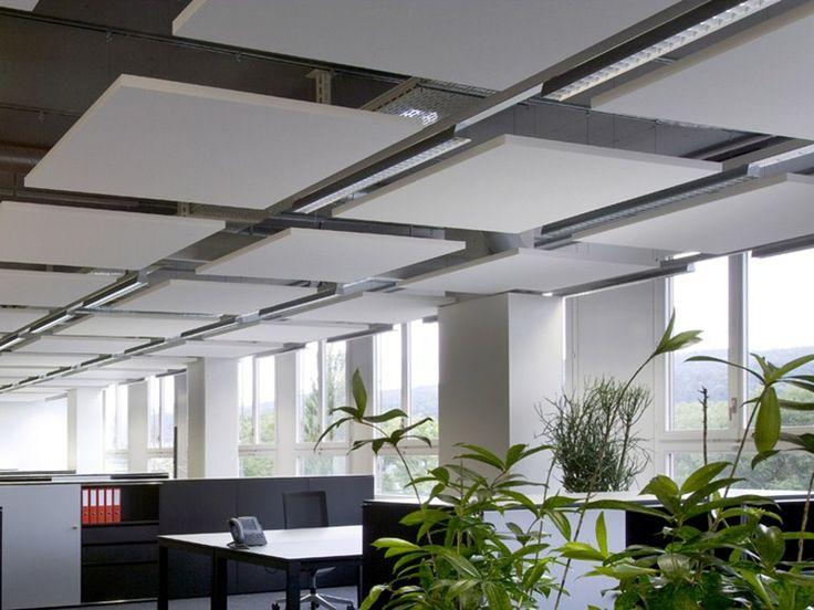 Glass wool acoustic ceiling clouds Ecophon Solo™ Square - Saint-Gobain ECOPHON