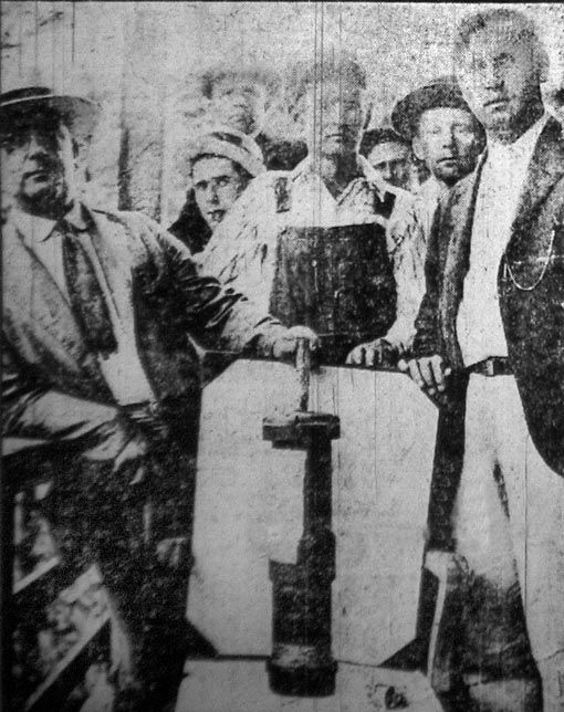 """Coal miners display bombs dropped by the govt of United States on its own citizens during the Battle of Blair Mountain, the largest armed uprising in the US after the Civil War.  """"For five days in 1921, in Logan County, West Virginia, between 10,000 and 15,000 coal miners confronted an army of 30,000 police and strikebreakers backed by coal operators... The battle ended after approximately one million rounds were fired, and the United States Army intervened by presidential order."""""""