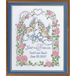 Crosstitch Wedding Doves Stamped CrossStitch Kit