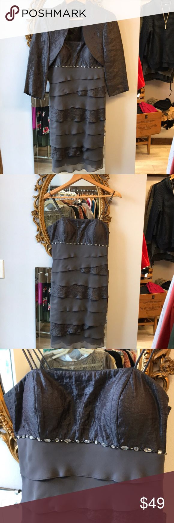 Gray party dress Fun gray party dress with flattering layers and bejeweled accent under the bust. Built in padding and 3/4 length jacket included. Perfect for a holiday party or wedding guest dress S L Fashion Dresses Midi