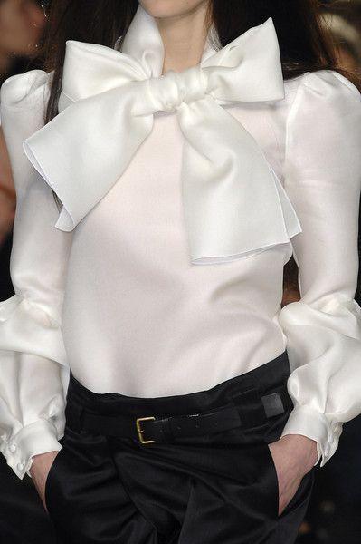 Crisp Sharp Elegant Feminine -- white satin bows always set it off! Proenza Schouler