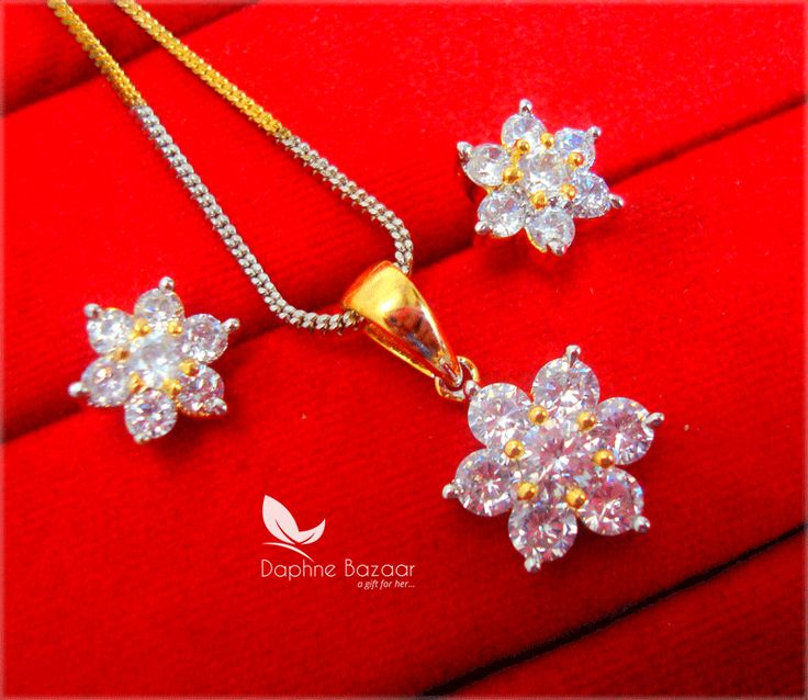 PN23, Daphne Flora Premium Quality Zircon Pendant With Earrings Gift for Wife