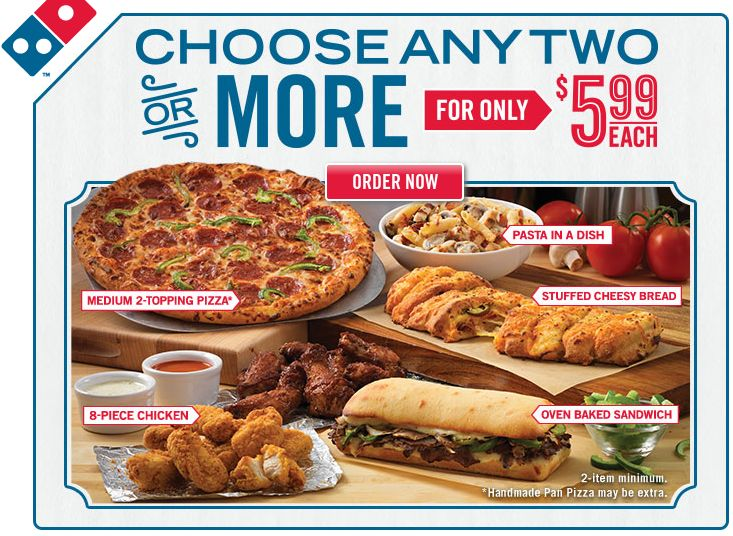 Domino's Pizza - 2 Medium 2-Topping Pizzas - $5.99 Each. #Dominos Pizza Coupon Code: 9193