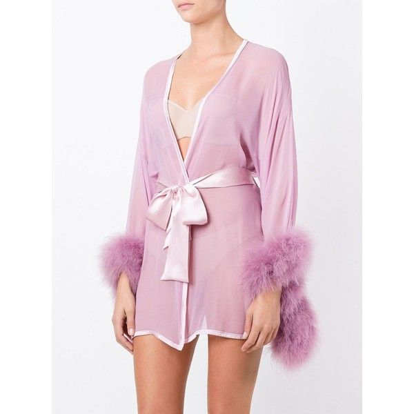Gilda & Pearl 'Diana' kimono (1,520 PEN) ❤ liked on Polyvore featuring intimates, robes, purple robe, pink kimono, pink silk robe, purple silk robe and pink robe