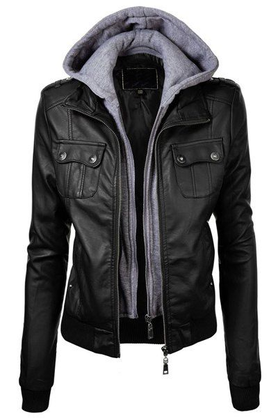 Fashionable Black Hooded Pocket Design Faux Leather Jacket For Women