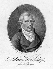 Johann Adam Weishaupt.After Pope Clement XIV's suppression of the Society of Jesus in 1773, Weishaupt became a professor of canon law,[13] a position that was held exclusively by the Jesuits until that time. In 1775 Weishaupt was introduced[14] to the empirical philosophy of Johann Georg Heinrich Feder[15] of the University of Göttingen. Both Feder and Weishaupt would later become opponents of Kantian idealism.