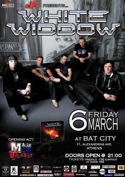 High Voltage Produtions & Bat City presents «WHITE WIDDOW» Live @ Bat City 6 Μαρτίου 2015
