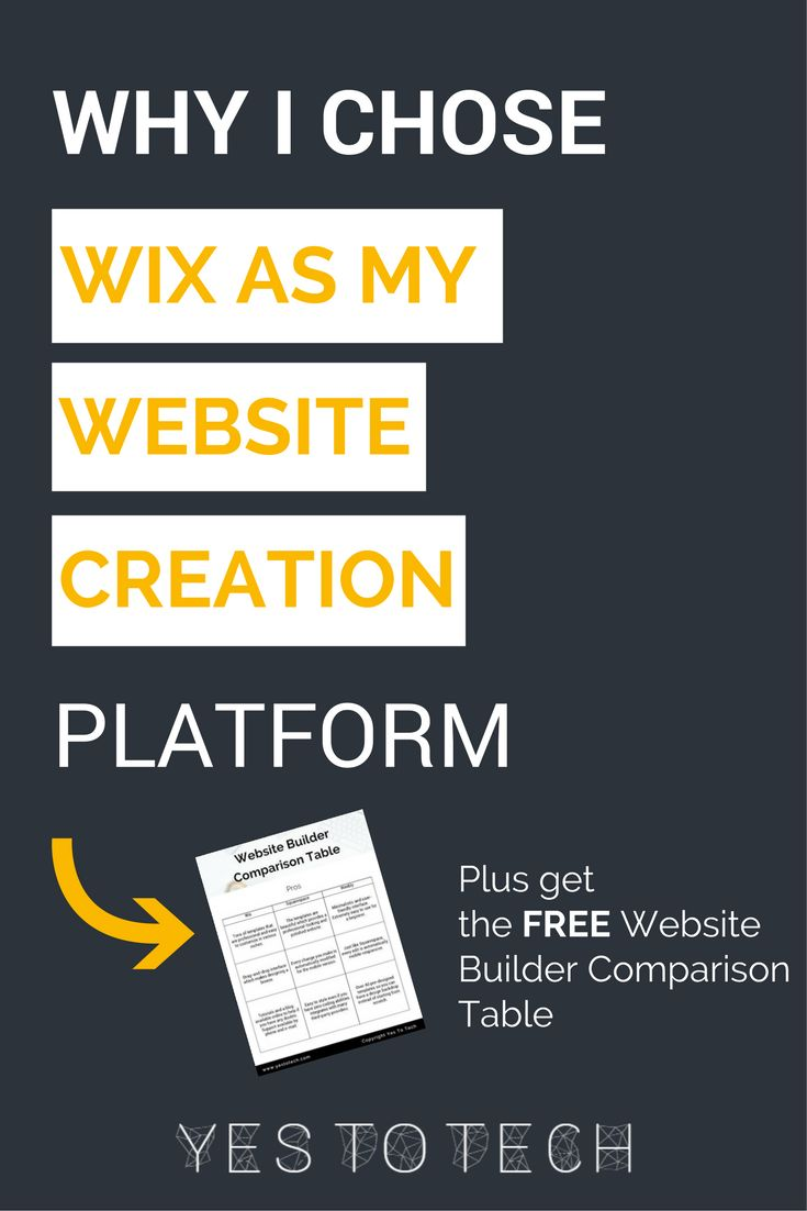When you are planning on creating a website yourself, step 1 is choose a website creation platform. My favorite option is Wix. Why? Here are the 3 main reasons. Plus, get the FREE Website Builder Comparison Table to help you figure out which website platform is best for you!
