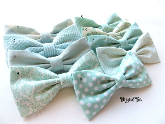 Mint Bow Tie Mix And Match Coordinating Wedding Bow Ties in 100% Designer Cotton, Any Size on Etsy, $16.00