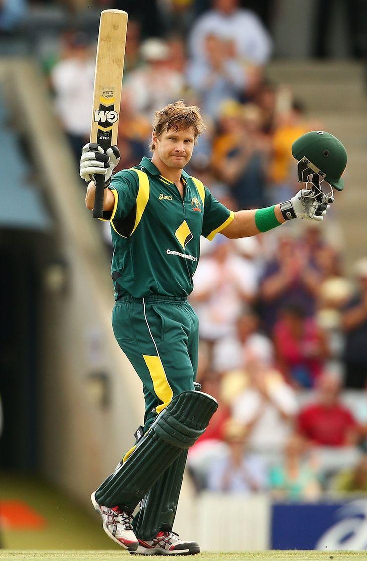 Shane Watson celebrates his hundred | Photo | Australia v West
