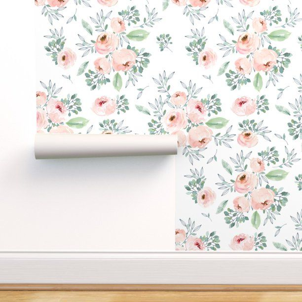 Peel And Stick Removable Wallpaper Watercolor Roses Pink Floral Flowers Walmart Com Of Wallpaper Estampas