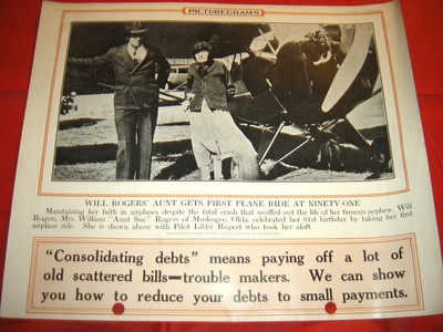 WILL ROGERS' AUNT GETS 1ST PLANE RIDE AT 91 OCTOBER 23 1935 PICTUREGRAMS POSTERPlanes Riding, Originals Posters, October 23, 91 October, 23 1935, Picturegram Posters, 1St Planes, 1935 Posters, 1935 Picturegram