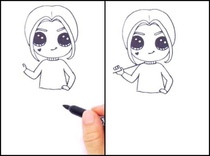 7. Теперь рисуем Харли руки. В одной она держит биту, вторая просто лежит на бедре. 8. Намечаем биту и прорисовываем сперва только один палец.