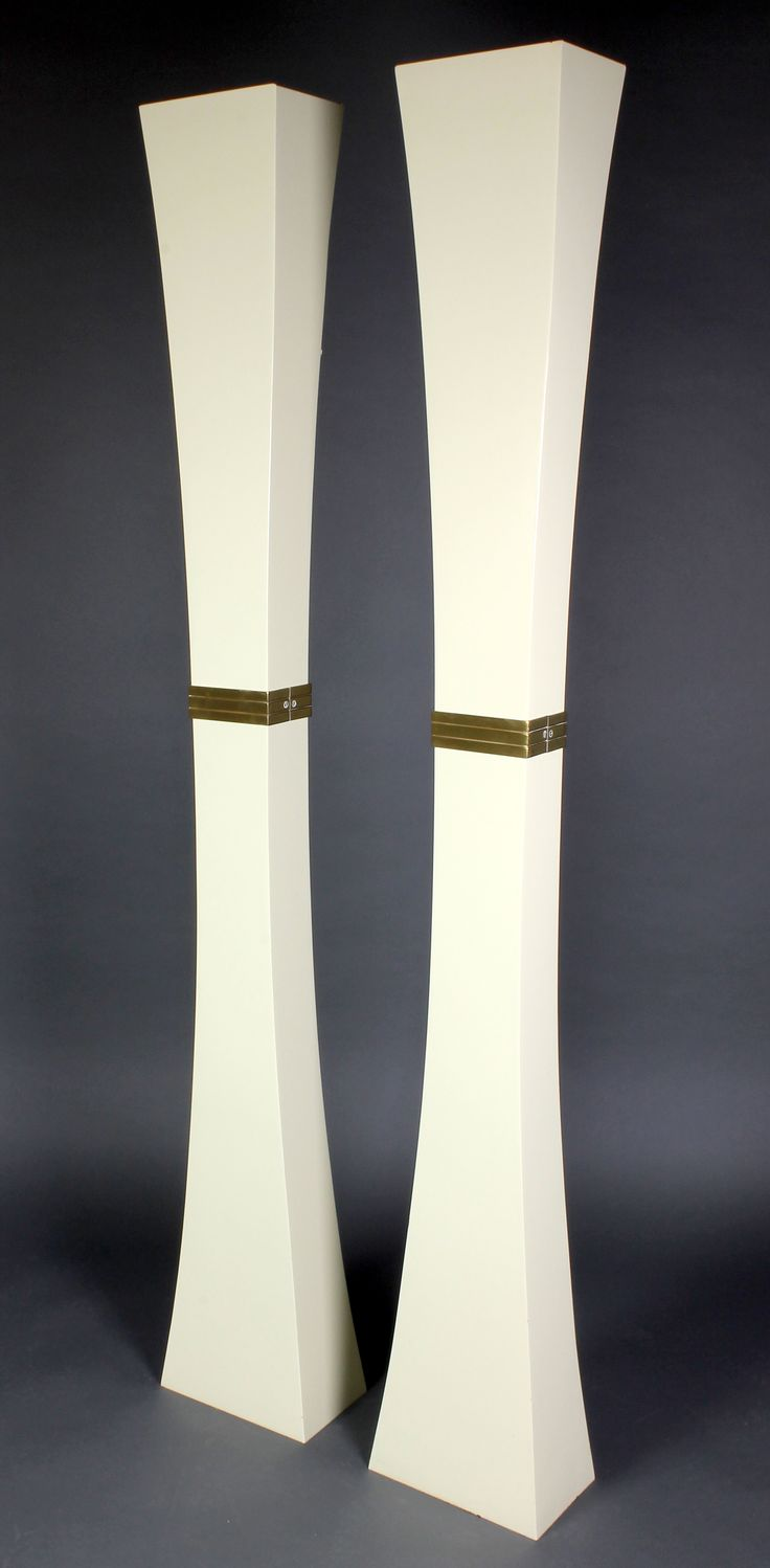 """Lot 997, A pair of Art Deco style Continental metal uplighters of waisted form 79""""h x 10""""w x 7""""d, est  £50-100"""