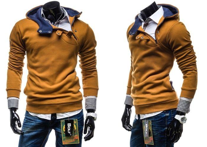 BOLF 06 - CAMELOWY CAMELOWY | On \ Bluzy męskie \ Bluzy z kapturem | Denley - Odzieżowy Sklep internetowy | Odzież | Ubrania | Płaszcze | Kurtki