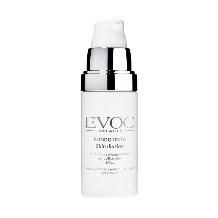 Fondotinta Skin Illusion Evoc Milano: Effetto seconda pelle per tutto il giorno. Rilascia un film estremamente confortevole ad alta sfumabilità per una facile applicazione. Protezione +20 dai raggi UV.