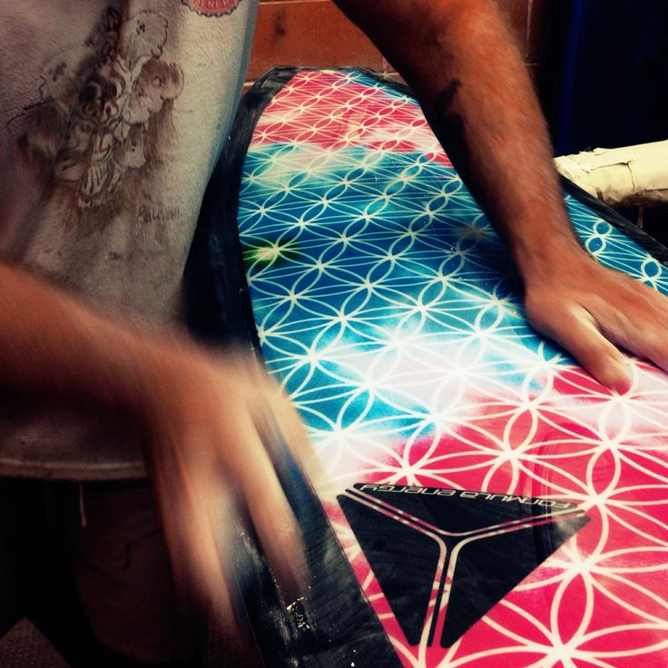 Beautiful flower of life pattern in the sanding bay , mid production #surfboard . We call this design Acid .