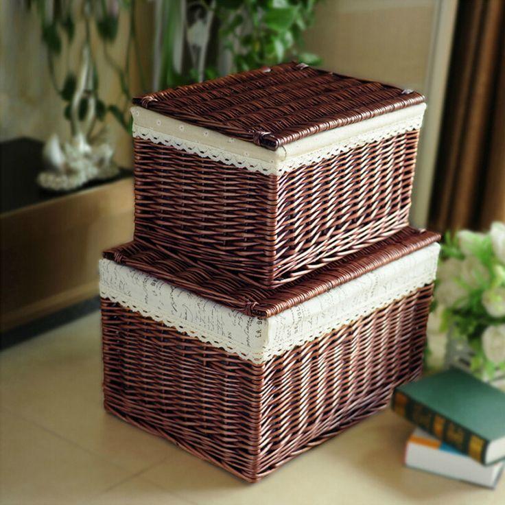Природных Эко-дружественных ручной плетеная Корзина хранения ткани внутри сад Тип коробки настольных хранения косметики с крышкой
