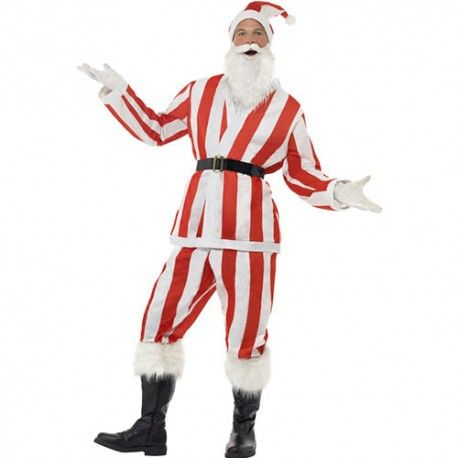 Costume homme père Noël rayé rouge blanc