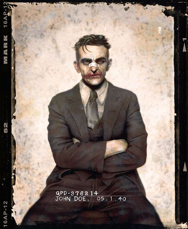 Joker Jempix's Photos of Batman Bad Guys Mimic 1920s Mug Shots #superheroes trendhunter.com