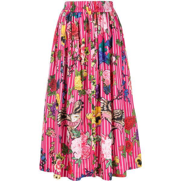 Philipp Plein Kaylima skirt ($750) ❤ liked on Polyvore featuring skirts, floral skirts, pink flare skirt, pink skirt, floral flare skirt and cotton summer skirts