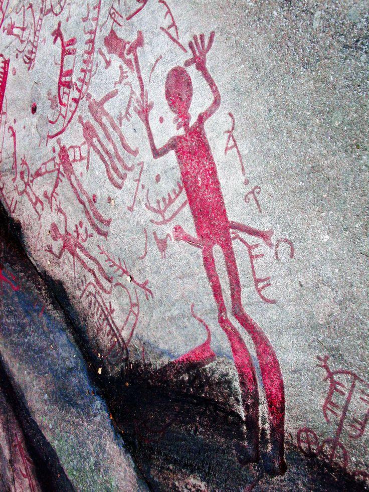Prehistoric petroglyph from around 1200 BC, Brastad, Bohuslän, Sweden - color heightened for contrast