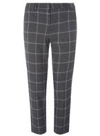 Womens Grey Checked Slim Leg Ankle Grazer Trousers- Grey/Pink