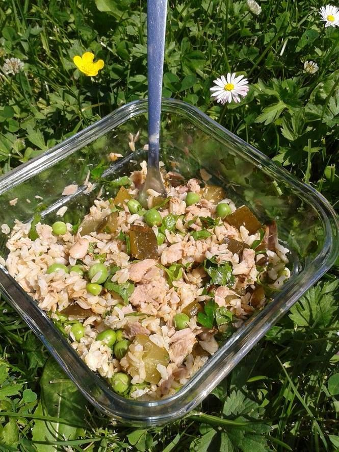 SAŁATKA Z TUŃCZYKIEM: ryż brązowy, ogórek kiszony, groszek zielony, sos jogurtowo-majonezowy (lub sam jogurt), natka pietruszki