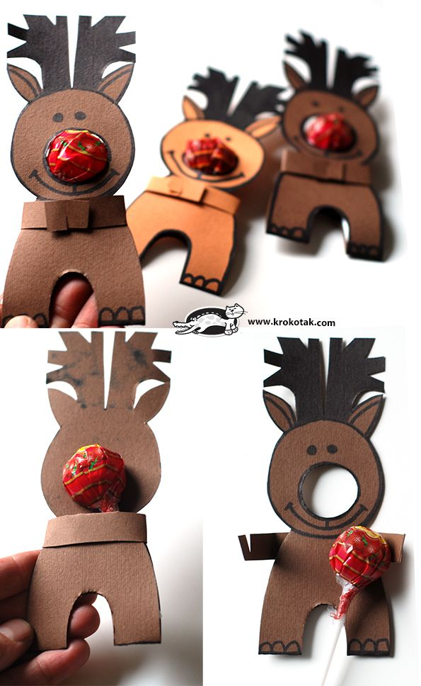 Rudolph with a lollipop nose Cute DIY Christmas Craft for the Kiddos