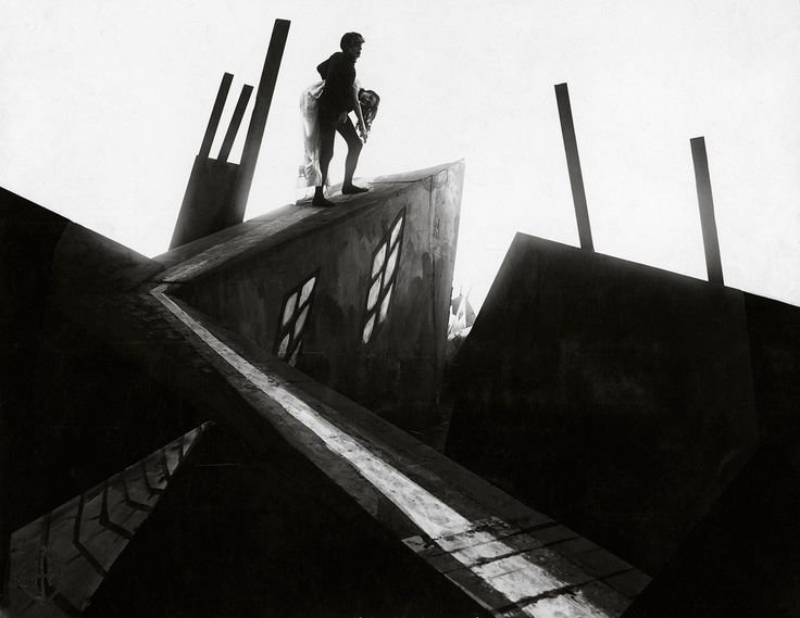 Scene from the silent film, 'Cabinet of Dr Caligari, 1919