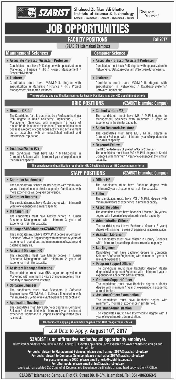 Shaheed Zulfikar Ali Bhutto Institute of Science & Technology Jobs, Islamabad Campus