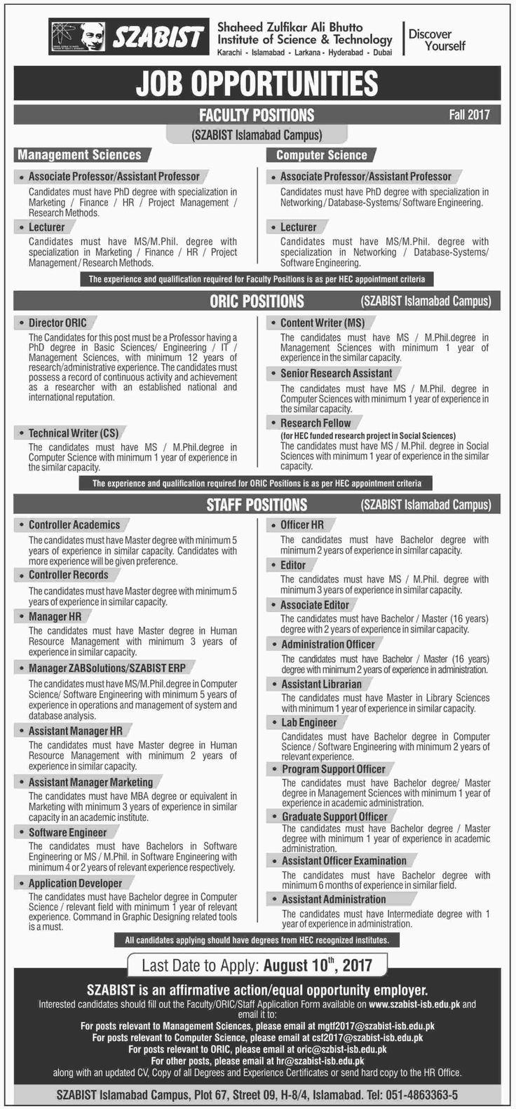 Shaheed Zulfikar Ali Bhutto Institute of Science & Technology Jobs, Islamabad Campus